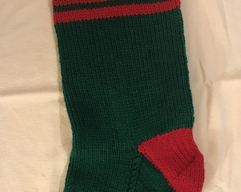 Customized Christmas Stocking - Green with Red trim