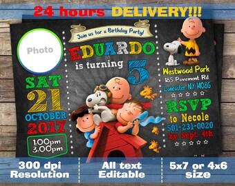 Peanuts Movie Birthday Invitation,Custom Digital Birthday Invitation, Peanuts Invite Peanuts Party, Peanuts Invitation, Snoopy Invitation