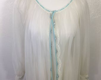 50s-60s Miss Elaine White Blue Sheer Peignoir Robe Sheer Dressing Gown