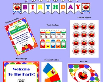 Elmo Birthday, Instant Download, Party Package, Personalized Editable Invitation