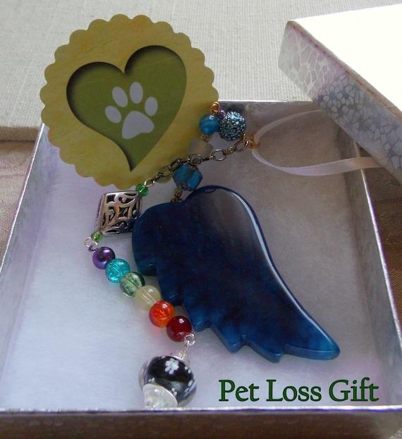 Pet loss gift - aqua angel wing ornament - wellness - wings of hope - pet memorial gift - personalize - agate pendant - window ornament
