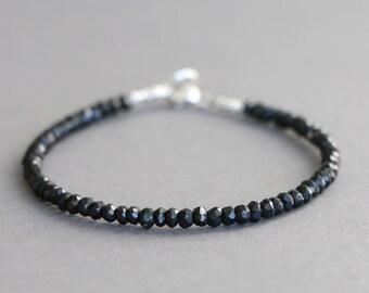 Black Spinel Bracelet Beaded Bracelet Gemstone Bracelet Stacking Bracelet