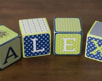 Baby Name Blocks - Nursery Name Blocks - Name Blocks - Baby Shower Gift, Nautical Nursery Name Blocks - Nautical Theme