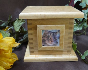Pet Cremation Urn, Pet Cremation Box, Handrafted from Solid Wood with Picture Frame - Perfect Memorial for your Beloved Household Pet