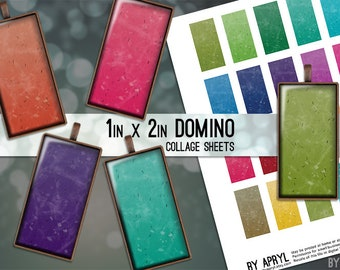 Domino Digital Collage Sheet 1x2 Images Confetti Grunge for Glass and Resin Pendants Magnets Paper Craft JPG D0016
