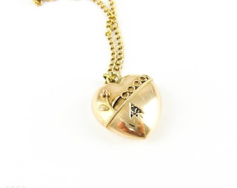 Antique Heart Pendant, Puffy Love Heart with Diamond and Applied Floral Design. 9ct with Chain, Circa Late Victorian.