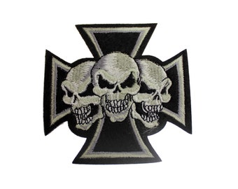 Embroidered Iron On Appliques patch  3 Skull on a cross NEW