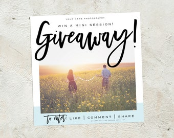 Photography Giveaway Template, Social Media Template, Contest Template, Instagram Facebook Contest Template, Giveaway Template