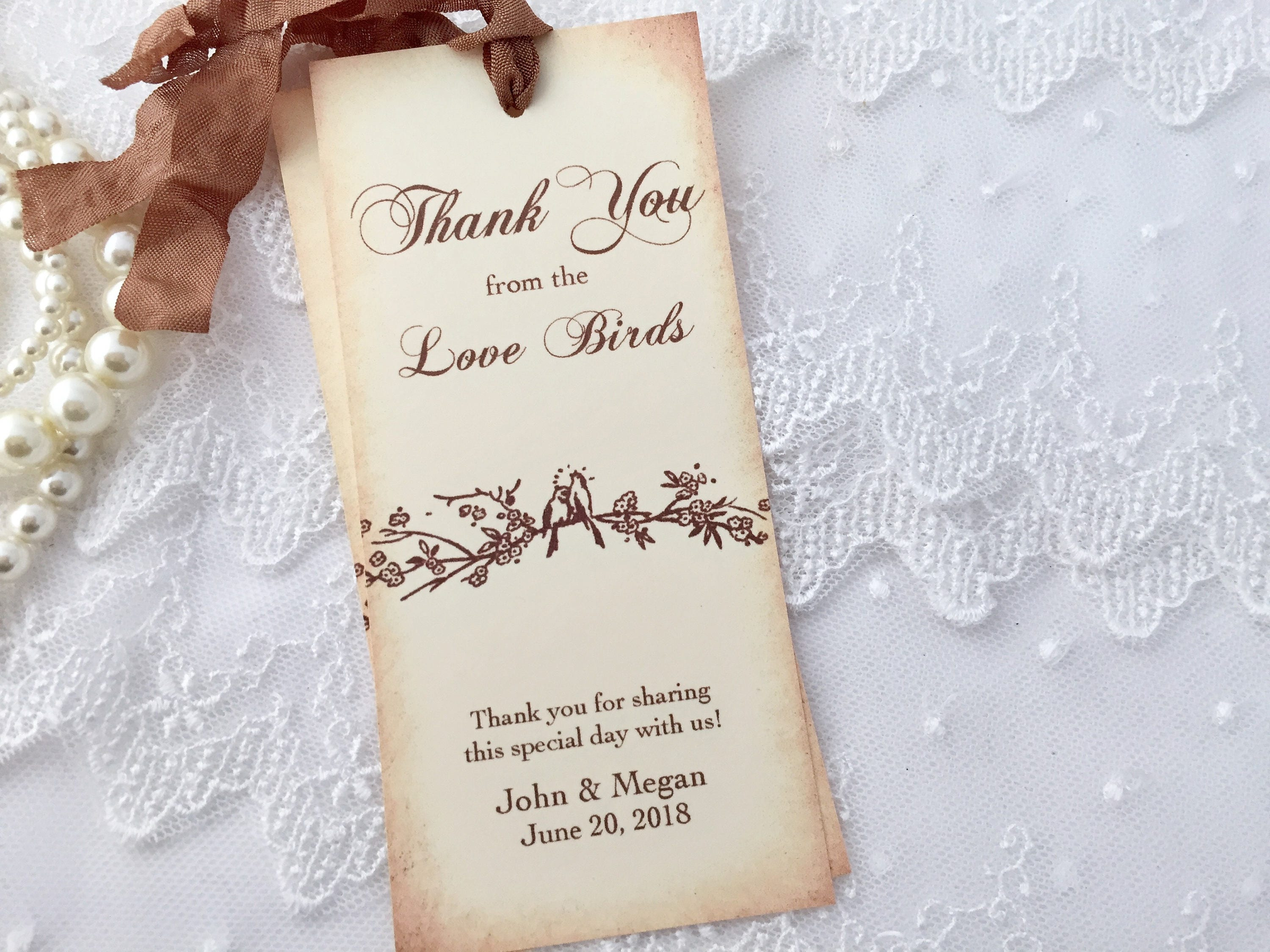 Bird Bookmarks Love Bird Bookmarks Wedding Favors Bookmarks