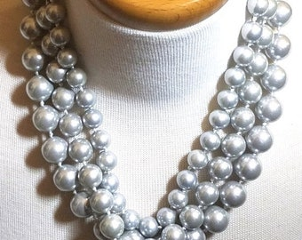 25% OFF SALE Silver Colored Triple Strand Faux Pearls Vintage Necklace