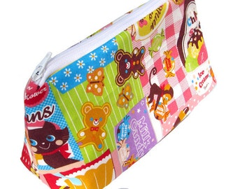 JULY PREORDER Cosmetic pouch/bag with patchwork sweets fabric gingham stripes polkadots japanese fabric kawaii harajuku