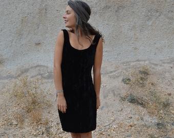 Vintage 70s Black Velvet Dress Contempo Casual Crushed Velvet