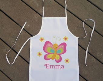 Personalized Kids' Apron - Girl Butterfly Apron - Custom Apron for Girls with Butterfly - Butterfly Apron for Kids - Kids' Chef Apron