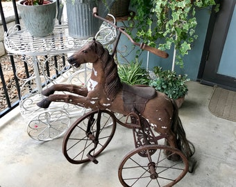 "Large Wood Horse Tricycle, 36"" Velocipede, French Victorian Style, Horse Photo Prop, Primitive Wood Horse, French Farmhouse Vintage"
