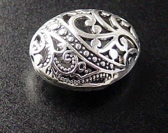 Bead Spacer 4 Antique Silver Puffy Round Oval Victorian Filigree Hollow Easter Egg 23mm x 18mm x 10mm (1091spa23s1)