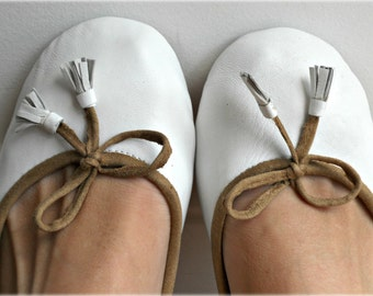 COCO- Ballet Flats - Leather Shoes - 39- WHITE.