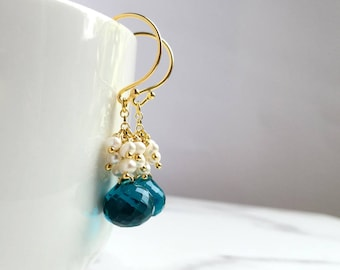 Teal earrings with tiny Freshwater Pearl clusters. Faceted rich teal Quartz briolettes