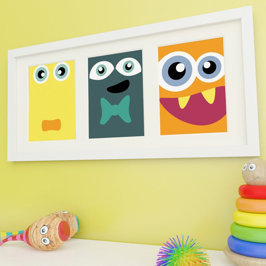 Monster Art Kids Wall Art Monster Prints Childrens Wall