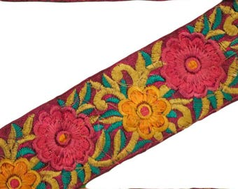 Vintage Indian Sari Trim Sewing Border Antique Embroidered Decorative Free Shipping Indian 1 Yard Trim Ribbon Lace ST1754
