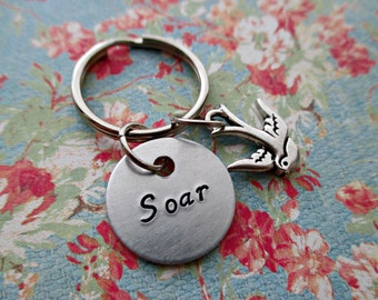 soar - hand stamped inspirational message aluminum keychain with sparrow charm