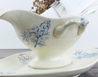 French Sauce boat  - Antique gravy boat- Vanilla and Blue - French Luxury - Paris - Chic country - Cottage - French china - Blue decor
