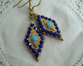 SALE Vintage 1920s Art Deco Gold Diamond Shaped Earrings Lapis and Turquoise Rhinestones Native Tribal Inspired
