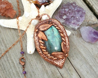 Copper Electroformed Labradorite Hand Sculpted Pendant Necklace