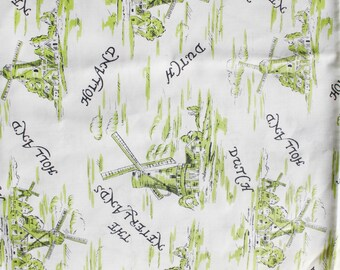 Cotton fabric Holland windmills remnant. 1960s printed cotton seconds, windmills motif, country Holland souvenir