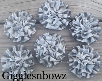 Dark Gray Satin Rosettes Puff Flowers- 6pc Satin Rolled Rosettes- Headband Supplies- Diy Supplies- Flowers for Hair- Wedding Supplies