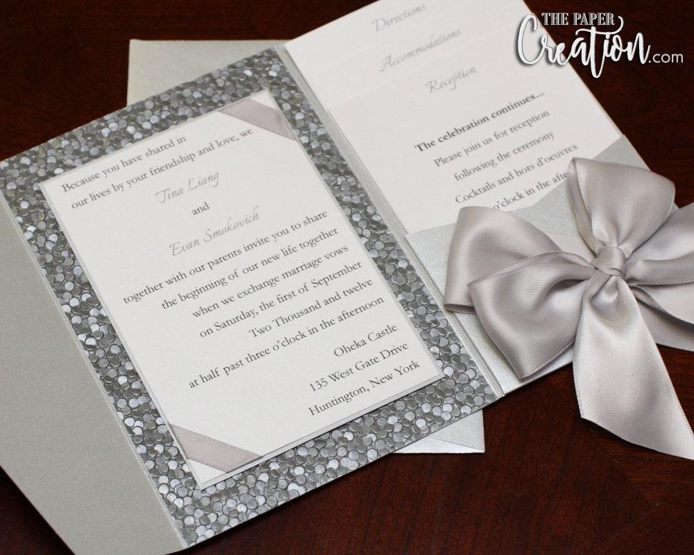 Silver Pebble Embossed Pocketfold Wedding Invitation Satin