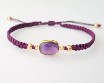 Macrame Bracelet with Amethyst Connector with Gold Beads