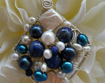Wire wrapped Sterling one-of-a-kind Lapis Pearl Square Pendant