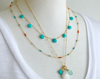 Turquoise, Peruvian Opal, Chalcedony Simple Necklace