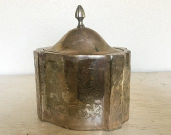 silver tea caddy or biscuit barrel - international silver india storage container or trinket box - ornate engraved with finial top