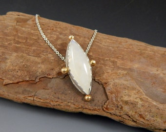 Sale Mixed Metal Moonstone Necklace Sterling Silver and 14k Gold