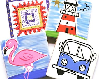 Coasters, Set of 4 of your Choice, Ceramic Coasters, Homewares, Placemats, Handpainted, Pick and Mix, Seaside, Birds, Campervans,