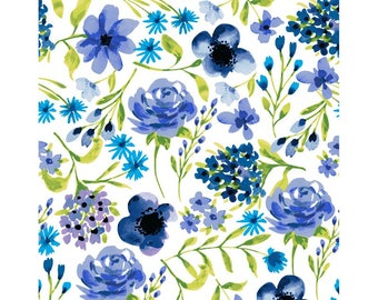 "Clothworks, From Ellen Crimi-Trent, ""Marguerite"" Blue flowers"