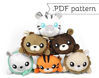 Stacking Lion Tiger Bear Plush Sewing Pattern .pdf Tutorial