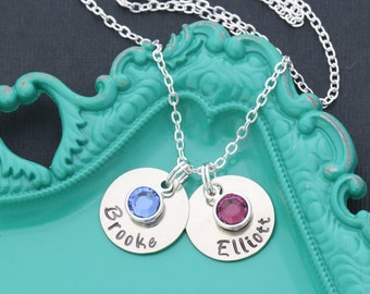 Mom Necklace • Birthstone Necklace Mom Gift Ideas • Mom Birthday Gift Personalized • Handstamped Necklace Gift Mother Necklace