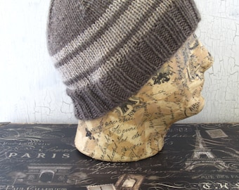 Men's Knit Hat, Gray Striped Hat, Gifts for Him, Hand Knit Men's Hat, Men's Beanie, Gray Beanie, Knit Beanie, Winter Accessory