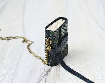 Small leather notebook necklace with chain Green leather journal Mini book pendant Miniature journal Wearable book Mini notebook antique