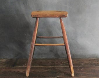 Vintage Wooden Stool, Primitive Wood Stool, Rustic Wood Stool, Fixer Upper Style, Counter Stool, Farmhouse Decor, Plant Stand