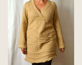 Women's linen dress, casual linen dress, linen dress sleeves, recycled dress, upcycled clothing, linen dress size M/L