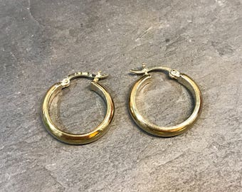 """0.75"""", Vintage gold over sterling silver loop earrings, fashion minimalist, fine 925 silver twisted hoops, stamped 925"""