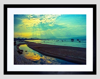 Nature Landscape Vietnam Danang Sun Beam Cloud Sea Blue Green Poster Art FEBB1517B