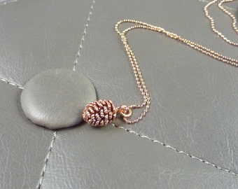 Rose Gold Pinecone Necklace. modern necklace. delicate necklace. whimsical necklace. simple necklace. nature necklace. tree necklace.