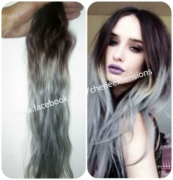 Sale Ombre Balayage Grey Human Weft Weave Hair Extensions