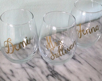 Personalized Stemless Wine Glass with Name
