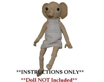 Large Elf  Crochet PATTERN  Knobby - Hobby's Bigger Brother    Doll NOT Included