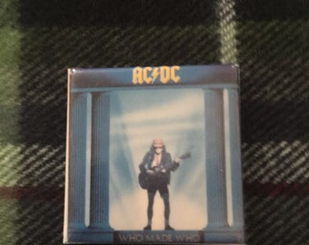 VINTAGE 80's AC/DC Pin - Who Made Who Cover